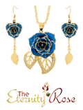 Blue jewelry set in leaf theme